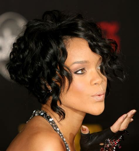 black bob cut styles front and back rihanna black curly bob hairstyle hairstyles weekly