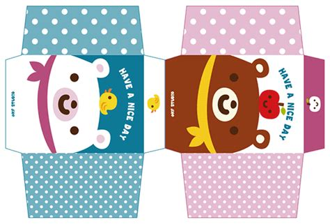 Papercraft Food Templates - kawaii box papercraft