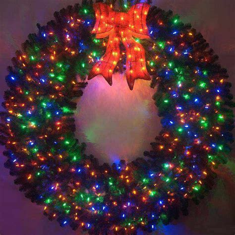 72 Inch Color Changing L E D Lighted Christmas Wreath Outdoor Lighted Wreaths