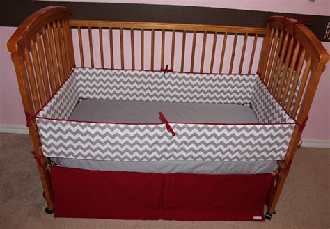 Gray And Red Chevron Crib Bedding Set By Aquabloom On Etsy Etsy Crib Bedding