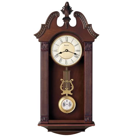 wall clocks bulova walnut ridgedale chiming wall clock c4437