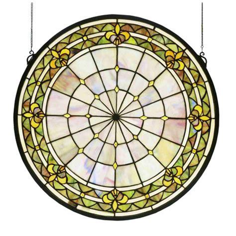 Fleur De Lis Ceiling Medallion by Meyda 49840 Fleur De Lis Medallion Stained Glass