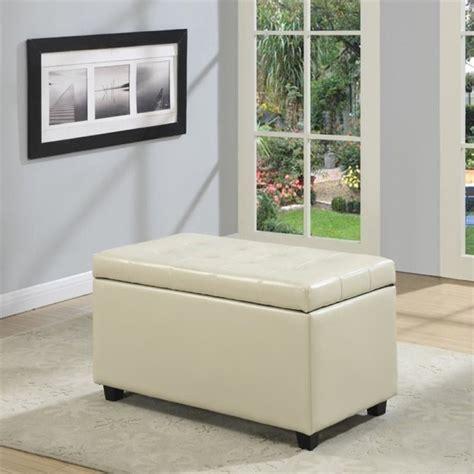 cream leather storage bench simpli home cosmopolitan faux leather storage bench in cream