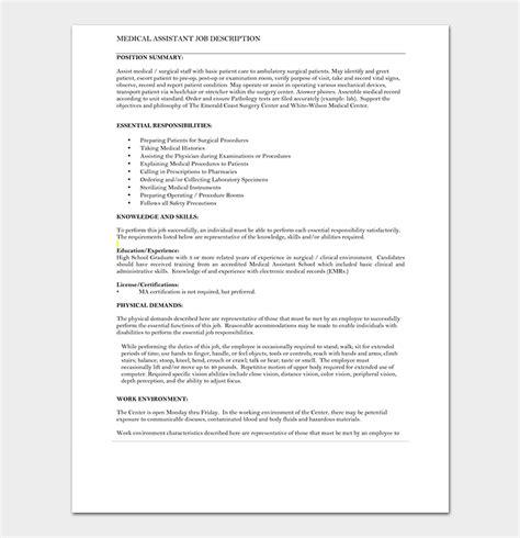 medical assistant job description resume ddlinkz com