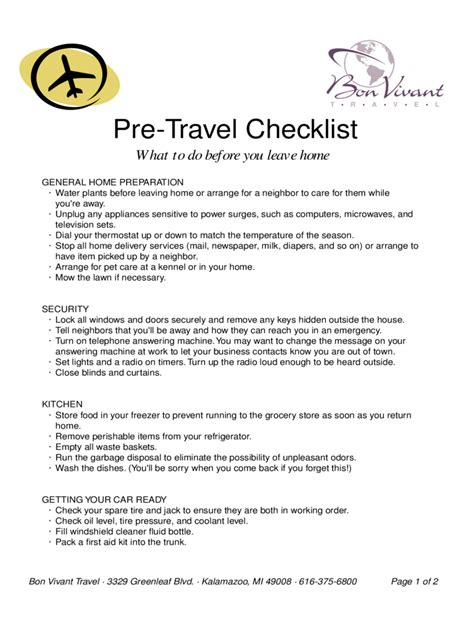 travel checklist printable forms travel checklist template 18 free templates in pdf word