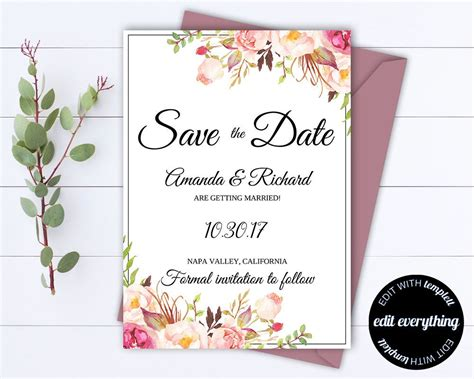 wedding invitation save the date template floral save the date wedding template floral save the