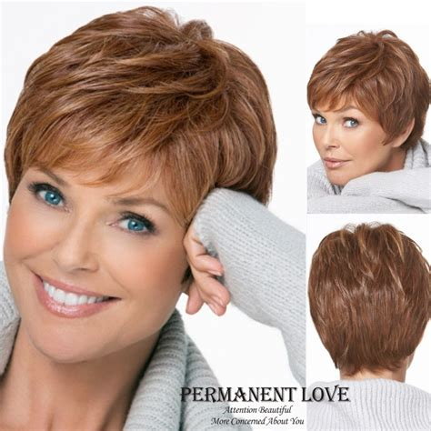 Natural straight short pixie cut hairstyle Blonde Wig side