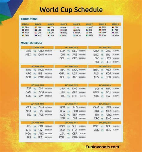 fifa world cup schedule fifa world cup 2014 schedule