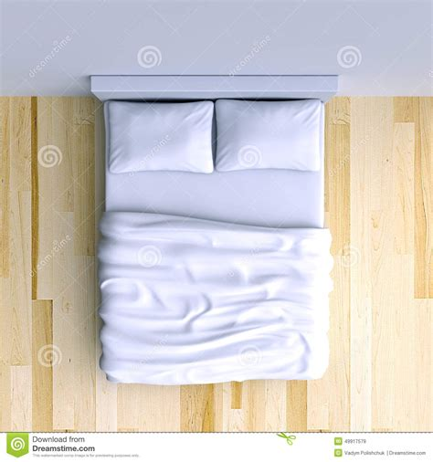 d in top corner of room bed with pillows and a blanket in the corner room 3d illustration stock illustration image