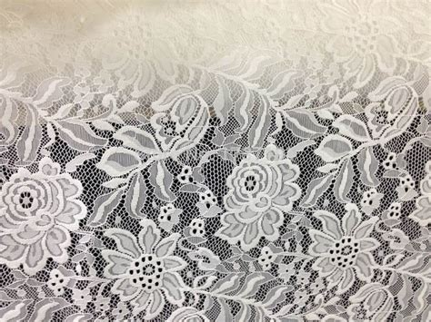 White Soft Strech soft allover elastic fabric white flowers stretch lace