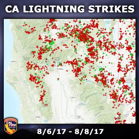 lighting in california thousands of lightning strikes in northern california