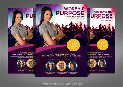 Women Conference Flyer Template Flyer Templates Creative Market Conference Flyer Template