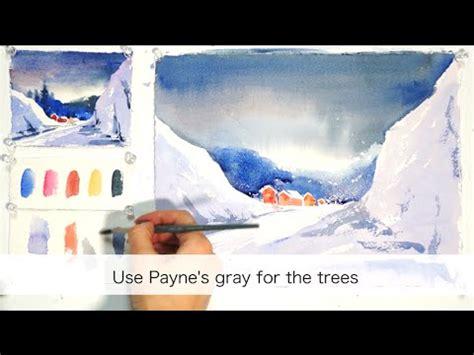 watercolor landscape tutorial youtube winter landscape step by step easy watercolor tutorial