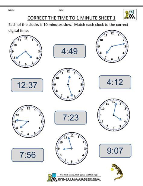 Analog Clock Practice Worksheets by Clock Worksheets To 1 Minute