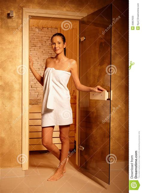 Shower Spa Bath pretty woman at door of sauna stock photos image 20857633