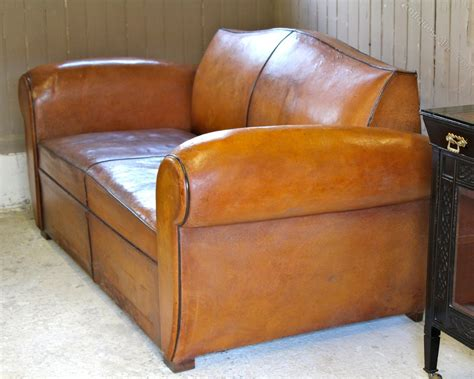 Vintage Art Deco French Leather Moustache Sofa Bed Antique Sofa Beds