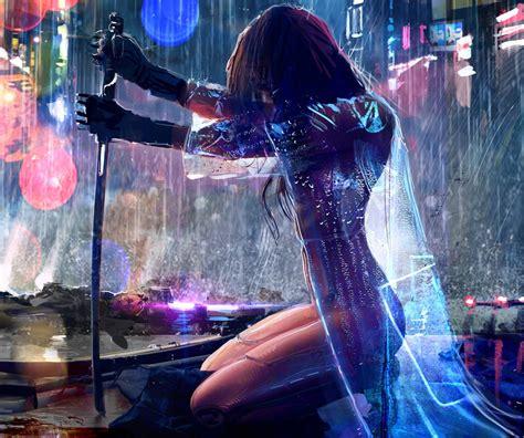 women warrior sword rain cyberpunk  wallpapers