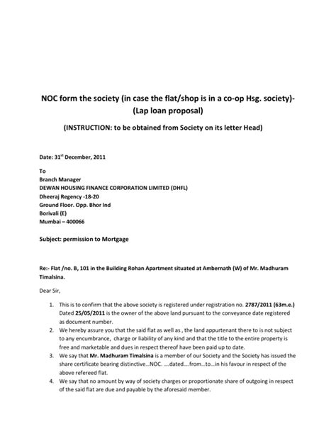 Noc Letter Format For Finance noc form the society mortgage