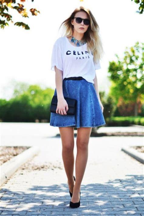 t shirt shirt skirt sunglasses blue skirt necklace