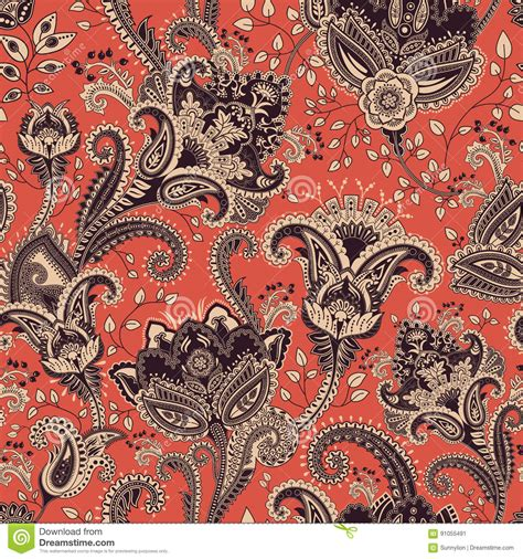 seamless pattern indian vector seamless pattern indian floral backdrop paisley