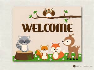 Nursery Name Banner by Woodland Animal Baby Shower Decorations Woodland Animal Baby
