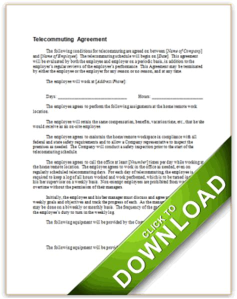 telework agreement template telecommuting authorization