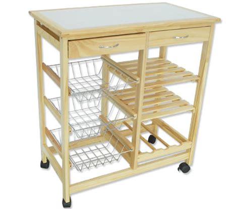 kitchen bench trolley wooden kitchen trolley 2 drawer 3 baskets 2 shelves