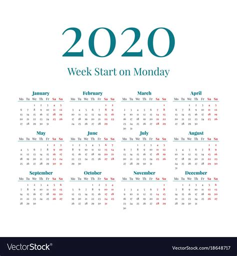simple  year calendar royalty  vector image