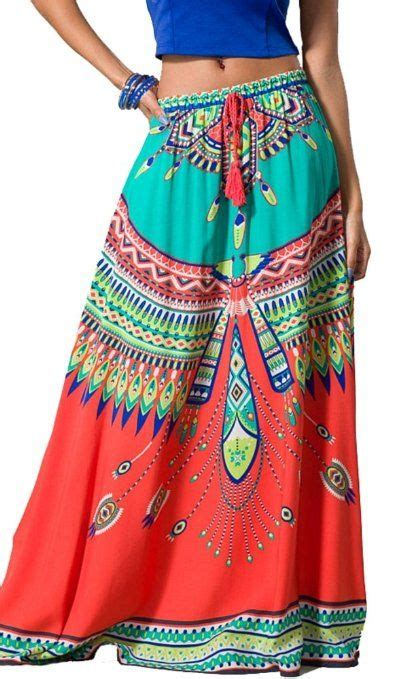 Tribal Boho Oby Dress 1 womens geometrical ethnic tribal print boho maxi skirt