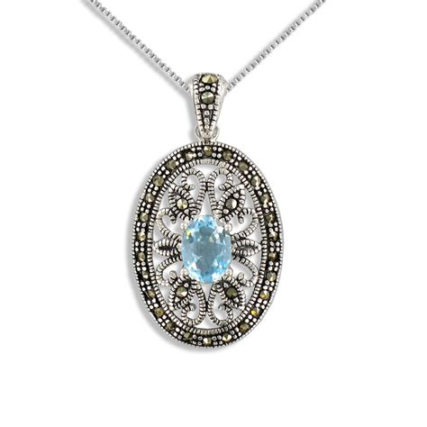 Topaz Gift Card Balance - sterling silver blue topaz pendant with marcasite jewelry pendants necklaces