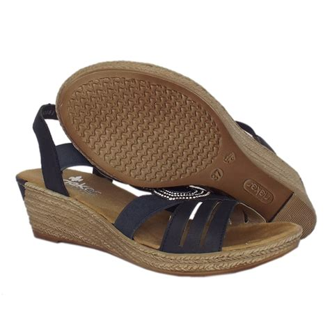 comfortable wedge sandals rieker antistress cathedral women s comfortable navy