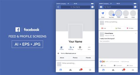 layout and view options for user author pages free facebook mobile ui psd marinad
