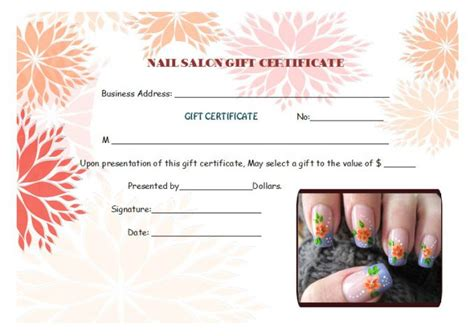 nail salon gift certificate template top 10 specialized manicure gift certificate templates demplates