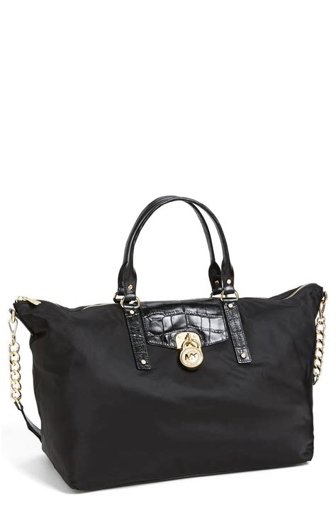 michael michael kors hamilton nylon weekender bag  black