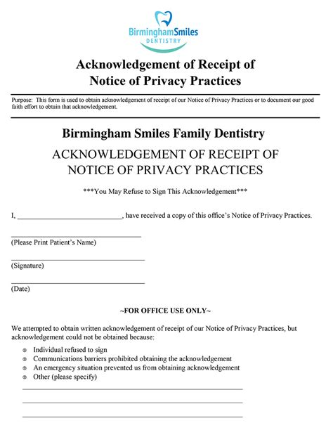 acknowledgement of receipt of notice of privacy practices template patient forms birmingham smiles dentistry