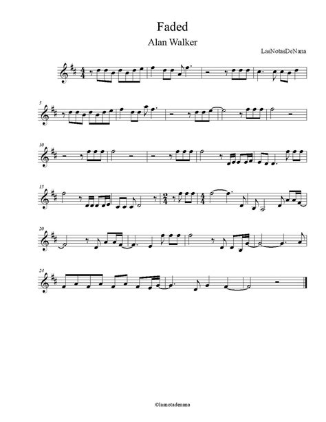 "Partitura de la Canción ""Faded"" 