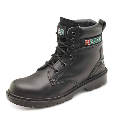 black leather six eyelet click safety work boots