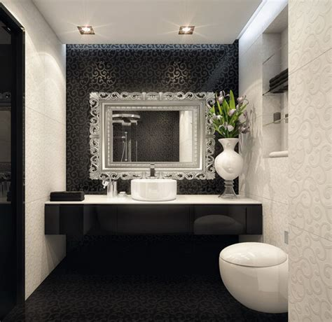 bathroom elegant black white bathroom interior with