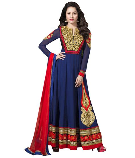 indian wholesale clothing blue georgette unstitched dress