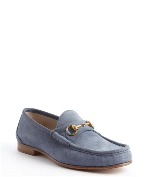 gucci blue suede loafers gucci powder blue suede horsebit detail loafers in blue