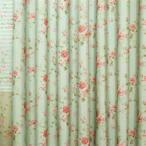 refreshing green floral cotton shabby chic curtains