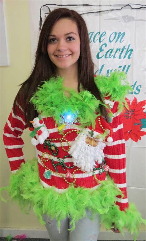 tacky holiday sweater party ideas bronze cardigan
