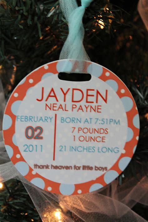personalized birth announcement christmas ornament baby