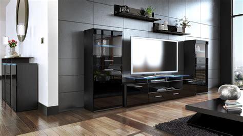 Wall Unit Living Room Furniture Almada V2 Black High Black Gloss Living Room Furniture