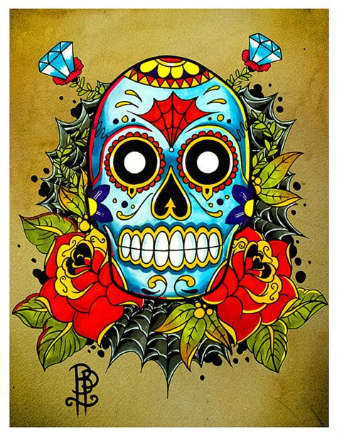 old school tattoo znaczenie items similar to sugar skull old school tattoo flash print