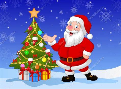 imagenes de santa claus navideñas animadas dibujos animados de pap 225 noel con 225 rbol de navidad