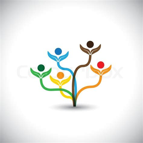 Eco Vector Icon Family Tree And Teamwork Concept This Graphic Illustration Also Represents Family Tree Concept Illustration Vector