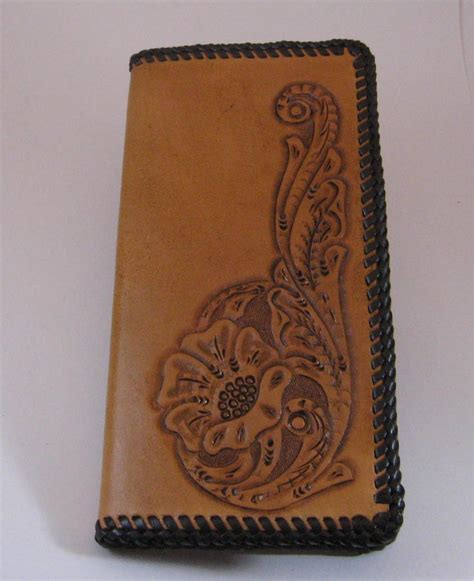 leather roper wallet pattern men s roper wallet tan dk brown lacing handtooled
