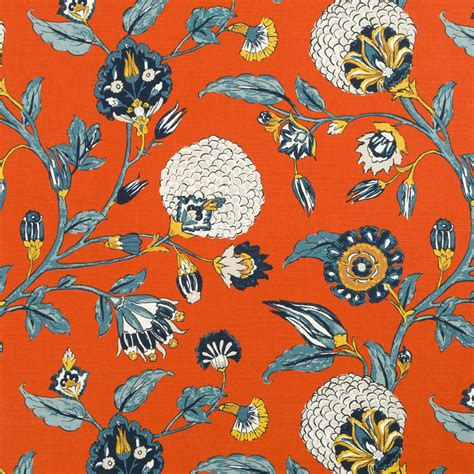 navy blue and orange curtains navy orange floral upholstery drapery fabric orange navy
