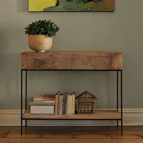 rustic sofa table with storage rustic storage console west elm